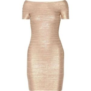 "Herve Leger ""Carmen"" Rose Gold Bandage Dress"